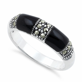 Sterling Silver Double Black Onyx Marcasite Ring