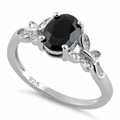 Sterling Silver Double Butterfly Black Center Stone CZ Ring