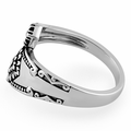 Sterling Silver Double Flower Spoon Ring