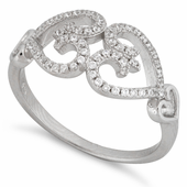 Sterling Silver Double Heart Pave CZ Ring