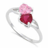 Sterling Silver Double Heart Pink & Dark Pink CZ Ring