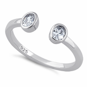 Sterling Silver Double Oval Cut Clear CZ Ring