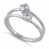 Sterling Silver Double Princess Cut Clear CZ Ring