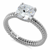 Sterling Silver Double Rope Cushion CZ Ring