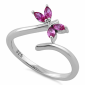 Sterling Silver Dragonfly Ruby CZ Ring