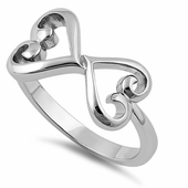 Sterling Silver Dual Curly Hearts Ring