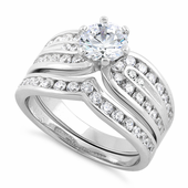 Sterling Silver Elegant Engagement Set CZ Ring