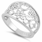 Sterling Silver Elegant Flowers Ring