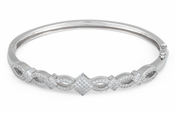 Sterling Silver Elegant Pave CZ Bangle Bracelet