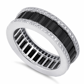 Sterling Silver Emerald Cut Eternity Pave Black CZ Ring