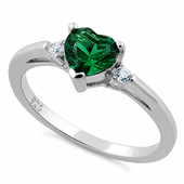 Sterling Silver Emerald Heart CZ Ring