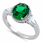 Sterling Silver Emerald Oval CZ Ring