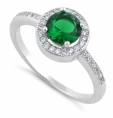 Sterling Silver Emerald Round CZ Halo Ring