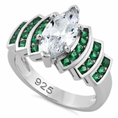 Sterling Silver Emerald Spinel Marquise Clear CZ Ring