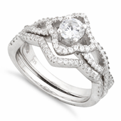 Sterling Silver Engagement Cross Pave CZ Set Ring