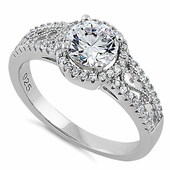 Sterling Silver Engagement CZ Ring