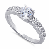 Sterling Silver Engagement Round Cut Clear CZ Ring