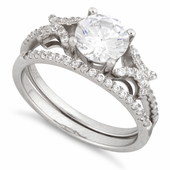 Sterling Silver Engangement Pave CZ Set Ring