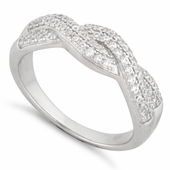 Sterling Silver Entwined Pave CZ Ring
