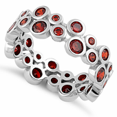 Sterling Silver Eternity Bubbles Dark Garnet CZ Ring