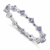 Sterling Silver Eternity Thin Amethyst CZ Ring