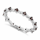 Sterling Silver Eternity Thin Brown CZ Ring