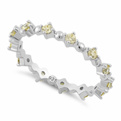 Sterling Silver Eternity Thin Golden Yellow CZ Ring