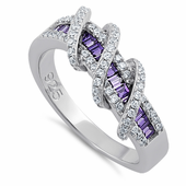 Sterling Silver Exotic Twisted Amethyst & Clear CZ Ring