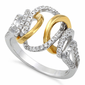Sterling Silver Exotic Two-tone Gold Plated CZ Ring