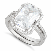 Sterling Silver Extravagant Engagement Pave CZ Set Ring
