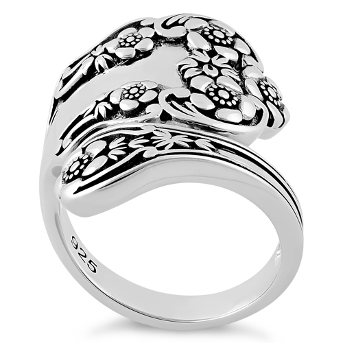 sterling silver extravagant flower spoon ring