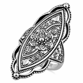 Sterling Silver Extravagant Rope Flower Ring