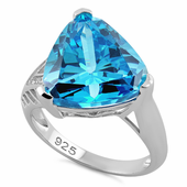 Sterling Silver Extravagant Trillion Aqua Blue CZ Ring