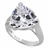 Sterling Silver Extravagant Trillion Clear CZ Ring