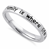 """Sterling Silver """"Family is where life begins & love never ends"""" Ring"""