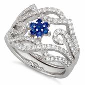 Sterling Silver Fancy Blue Sapphire Flower Removable CZ Ring
