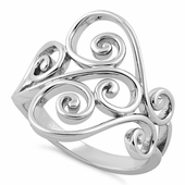 Sterling Silver Filigree Heart Ring