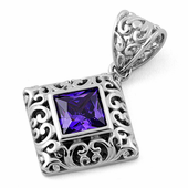 Sterling Silver Filigree Square Amethyst CZ Pendant