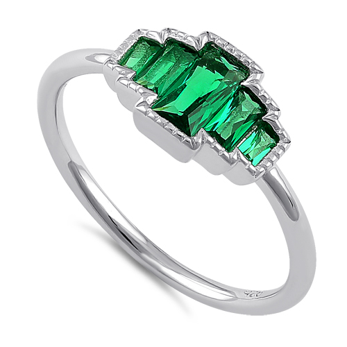 sterling silver five radiant cut emerald cz ring