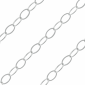 Sterling Silver Flat Oval Cable Chain 3 x 2mm (sold by the foot)