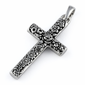 Sterling Silver Flora Cross Pendant