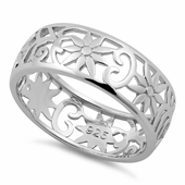 Sterling Silver Flower Band Ring