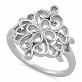 Sterling Silver Flower Filigree Ring