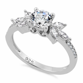 Sterling Silver Flower Leaves Clear CZ Ring