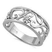 Sterling Silver Flower Vines Ring