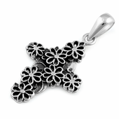 Sterling Silver Flowered Cross Pendant