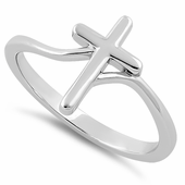Sterling Silver Fluid Cross Ring