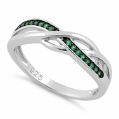 Sterling Silver Free Form Emerald CZ Ring