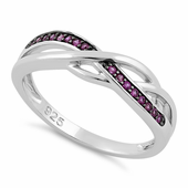 Sterling Silver Free Form Ruby CZ Ring