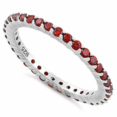Sterling Silver Garnet Eternity CZ Ring